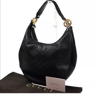 Authentic GUCCI Black monogram Leather Hobo bag
